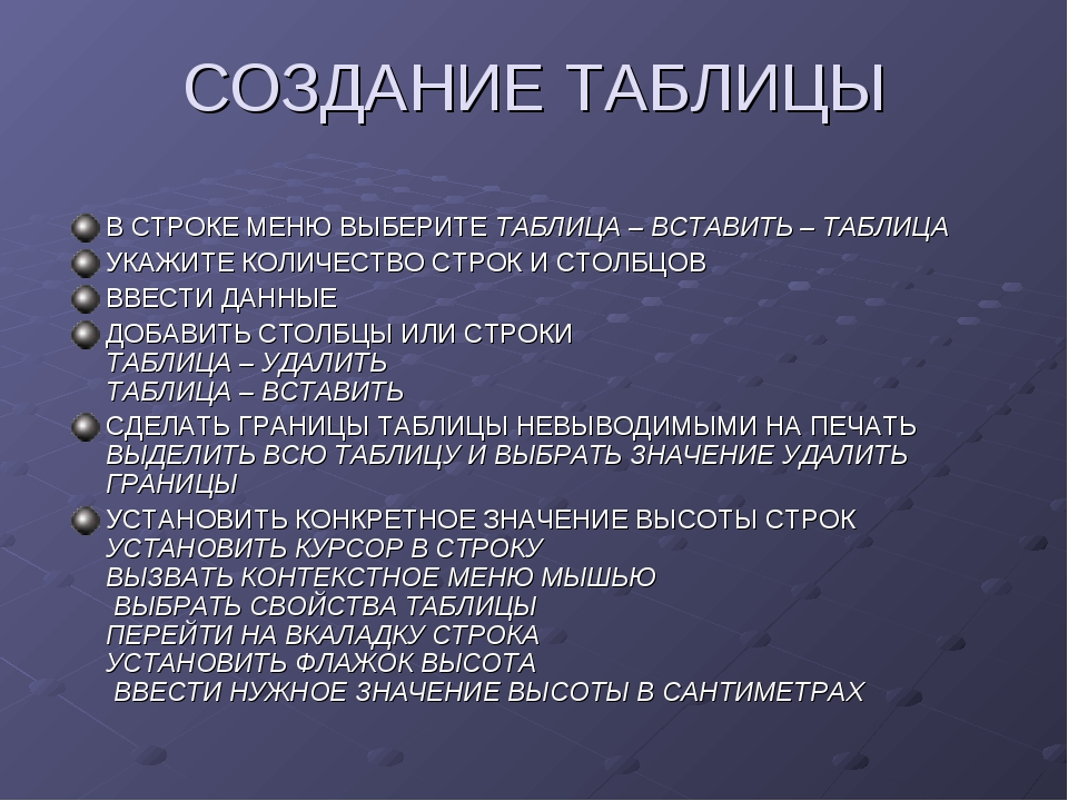 СОЗДАНИЕ ТАБЛИЦЫ В СТРОКЕ МЕНЮ ВЫБЕРИТЕ ТАБЛИЦА – ВСТАВИТЬ – ТАБЛИЦА УКАЖИТЕ...