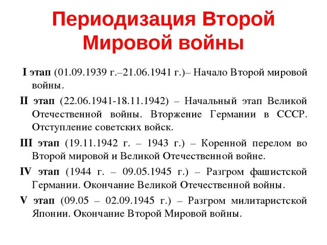 Периодизация Второй Мировой войны I этап (01.09.1939 г.–21.06.1941 г.)– Начал...