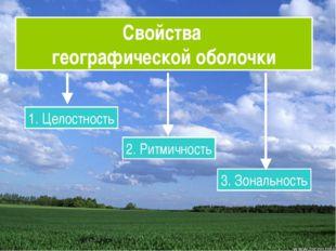 Свойства географической оболочки 1. Целостность 2. Ритмичность 3. Зональность