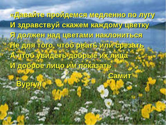 «Давайте пройдемся медленно по лугу И здравствуй скажем каждому цветку Я долж...
