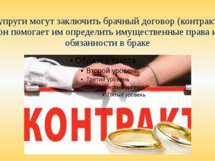 Супруги могут заключить брачный договор (контракт), он помогает им определить