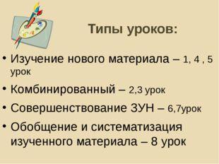 Типы уроков: Изучение нового материала – 1, 4 , 5 урок Комбинированный – 2,3