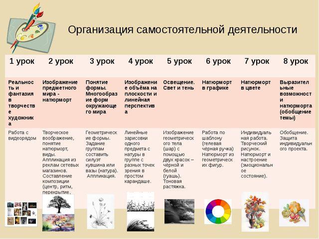 Организация самостоятельной деятельности 1 урок 2 урок 3 урок 4 урок 5 урок 6...