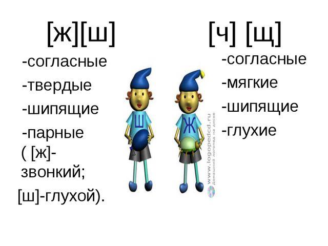 [ж][ш] [ч] [щ] -согласные -твердые -шипящие -парные ( [ж]-звонкий; [ш]-глухой...