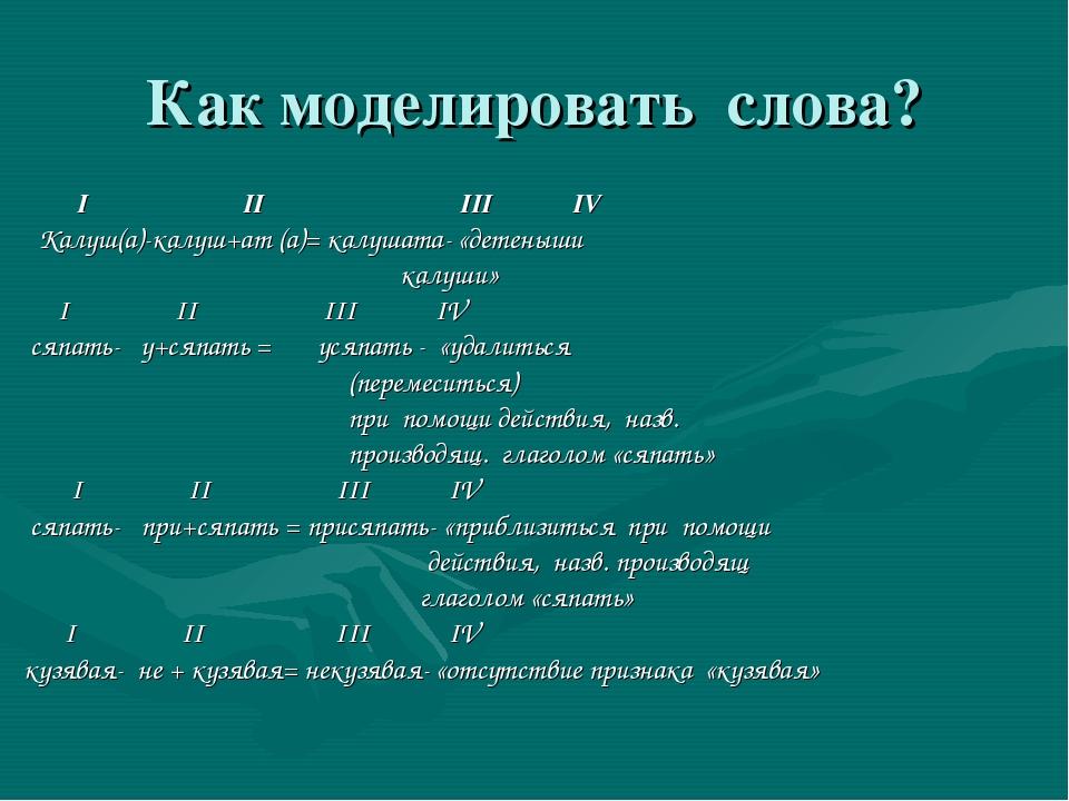 Как моделировать слова? I II III IV Калуш(а)-калуш+ат (а)= калушата- «детеныш...