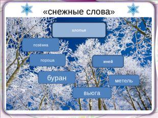«снежные слова» хлопья иней пороша позёмка вьюга буран метель