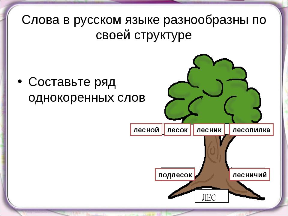 Слова в русском языке разнообразны по своей структуре Составьте ряд однокорен...
