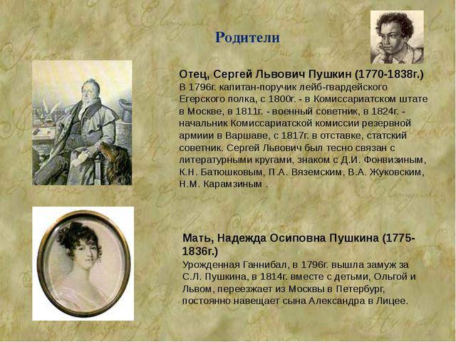 Родители Отец, Сергей Львович Пушкин (1770-1838г.) В 1796г. капитан-поручик л...