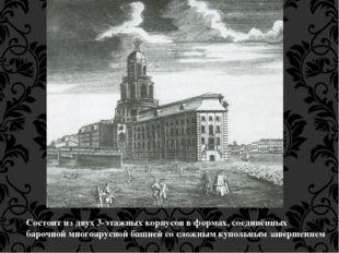 Состоит из двух 3-этажных корпусов в формах, соединённых барочной многоярусно