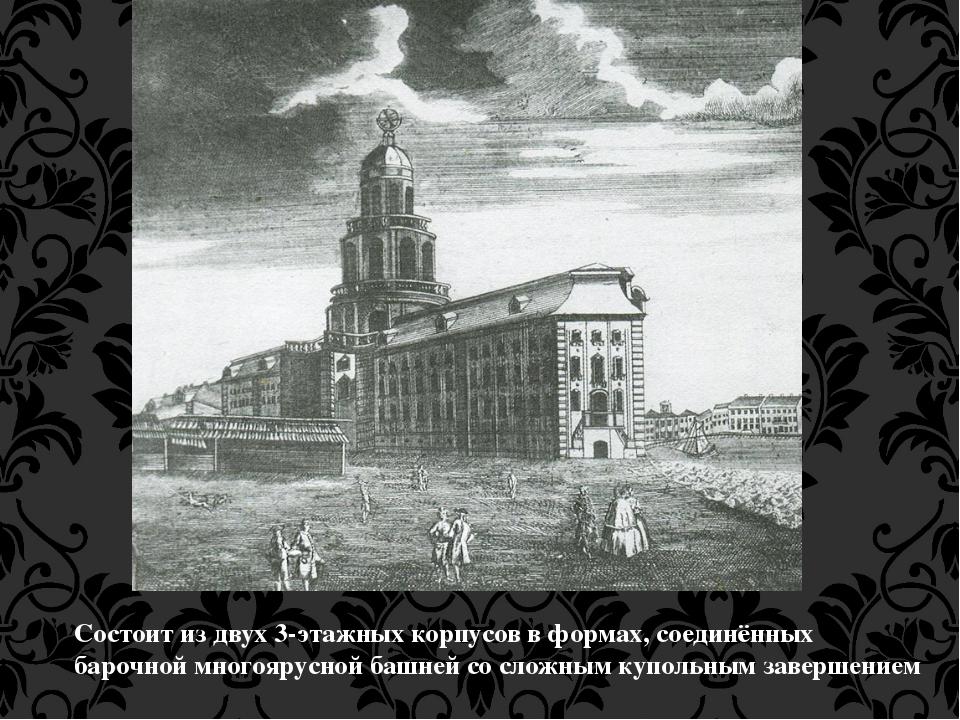 Состоит из двух 3-этажных корпусов в формах, соединённых барочной многоярусно...