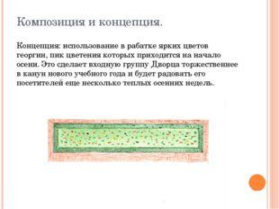 Композиция и концепция. Концепция: использование в рабатке ярких цветов георг