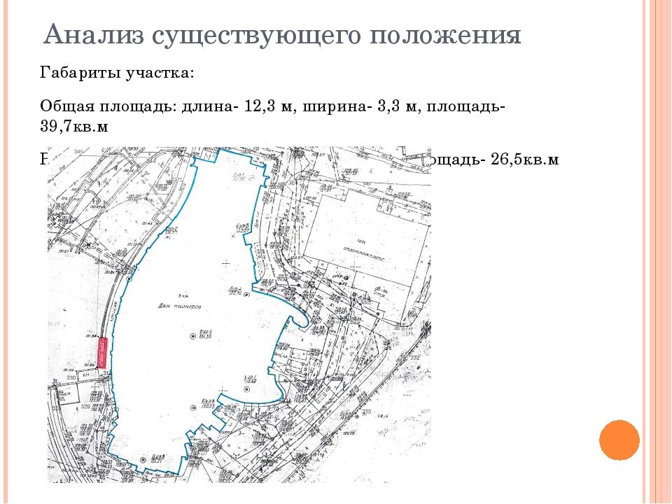 Анализ существующего положения Габариты участка: Общая площадь: длина- 12,3 м...