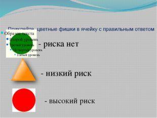Приклейте цветные фишки в ячейку с правильным ответом - риска нет - низкий ри