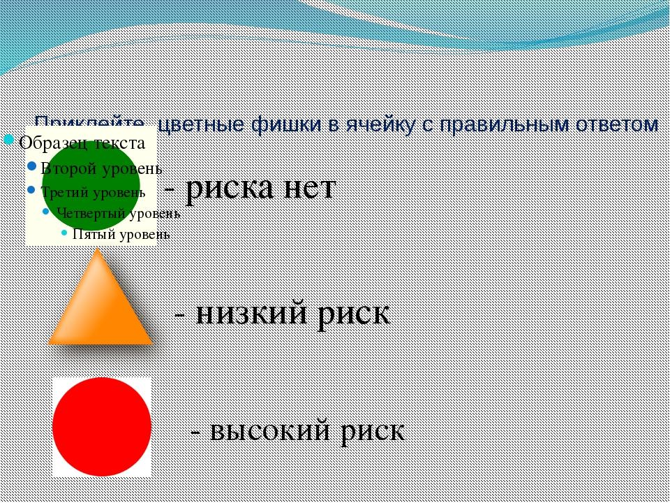 Приклейте цветные фишки в ячейку с правильным ответом - риска нет - низкий ри...