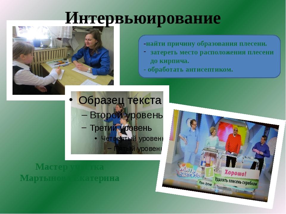 Интервьюирование Мастер участка Мартынова Екатерина -найти причину образован...