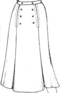 Юбка с веерными складками по линии вытачек на переднем полотнище