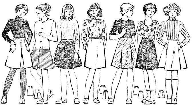 Рис 36. Фасоны юбок, сшитых по выкройке прямой юбки