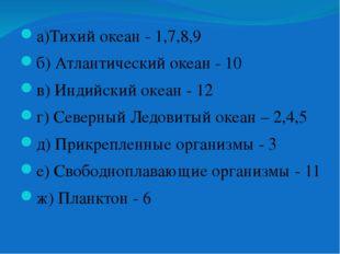 а)Тихий океан - 1,7,8,9 б) Атлантический океан - 10 в) Индийский океан - 12