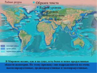 В Мировом океане, как и на суше, есть более и менее продуктивные области-акв
