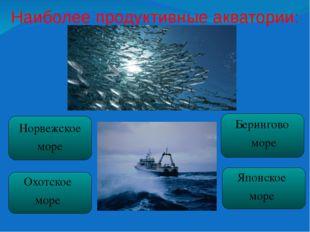 Наиболее продуктивные акватории:  Норвежское море Охотское море Берингово мо