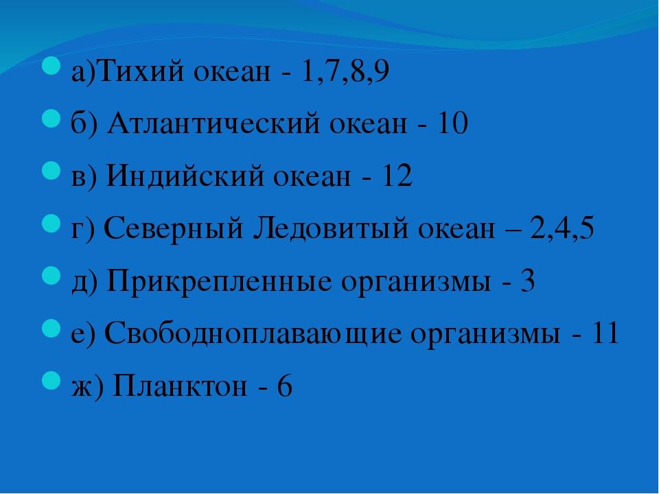 а)Тихий океан - 1,7,8,9 б) Атлантический океан - 10 в) Индийский океан - 12...
