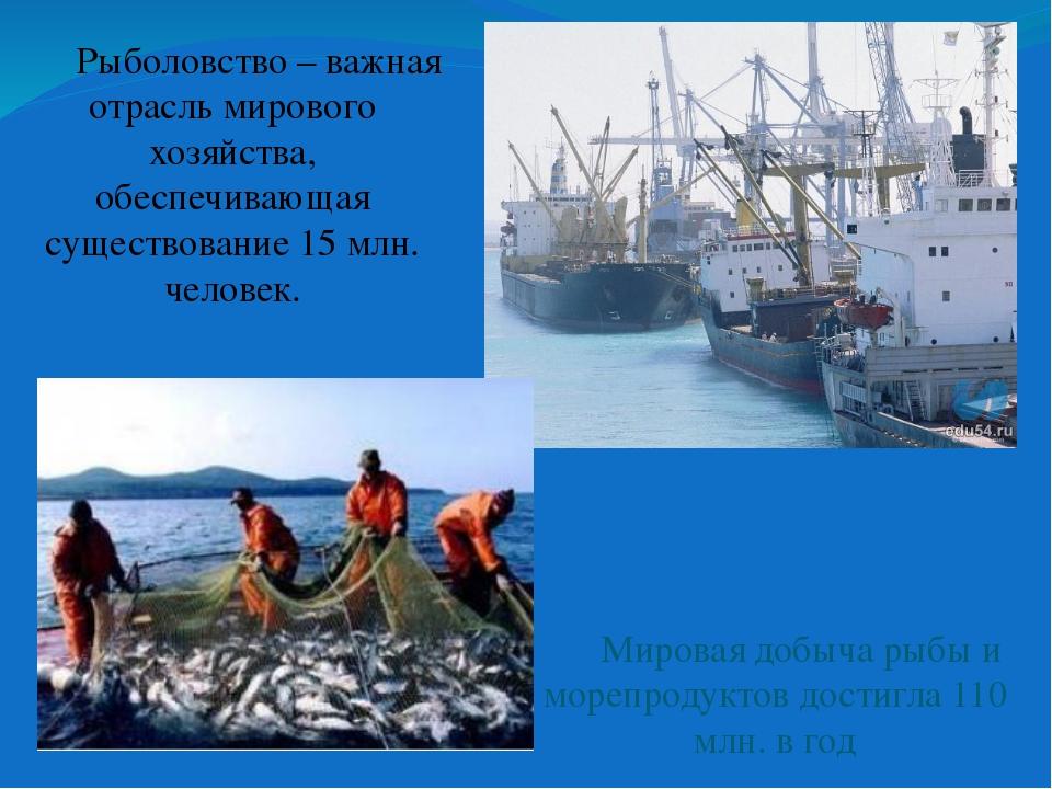 Рыболовство – важная отрасль мирового хозяйства, обеспечивающая существовани...