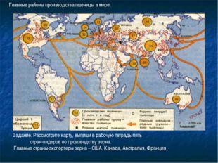 Задание. Рассмотрите карту, выпиши в рабочую тетрадь пять стран-лидеров по пр