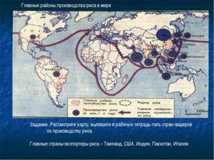 Главные районы производства риса в мире Задание. Рассмотрите карту, выпишите