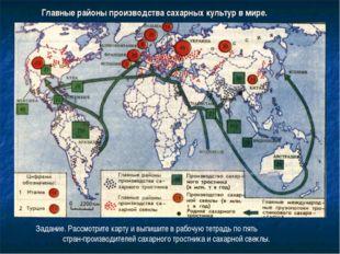 Главные районы производства сахарных культур в мире. Задание. Рассмотрите кар