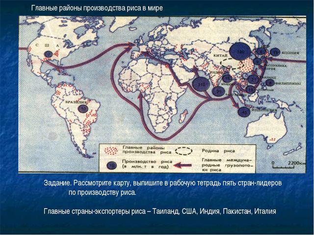 Главные районы производства риса в мире Задание. Рассмотрите карту, выпишите...