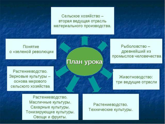 План урока Сельское хозяйство – вторая ведущая отрасль материального производ...