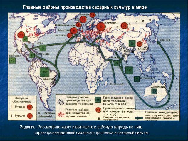 Главные районы производства сахарных культур в мире. Задание. Рассмотрите кар...