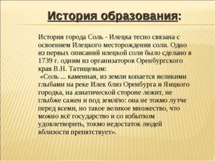 История образования: История города Соль - Илецка тесно связана с освоением