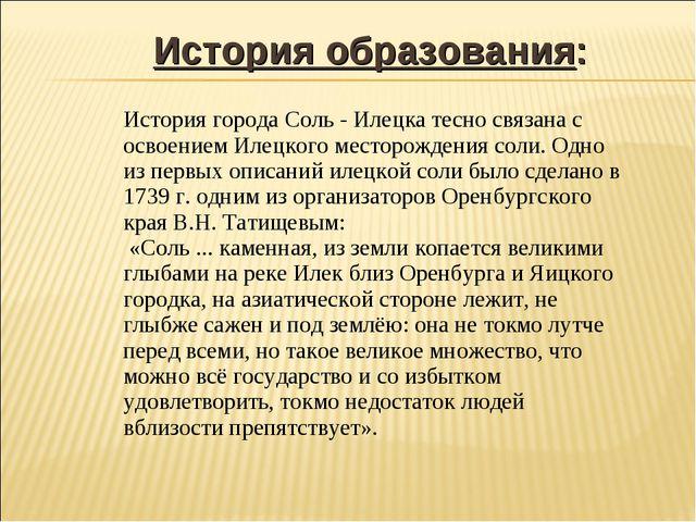 История образования: История города Соль - Илецка тесно связана с освоением...