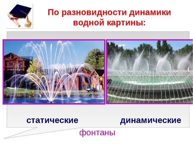 По разновидности динамики водной картины: статические динамические фонтаны