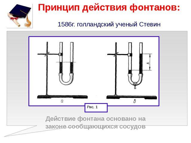 Принцип действия фонтанов: 1586г. голландский ученый Стевин Действие фонтана...