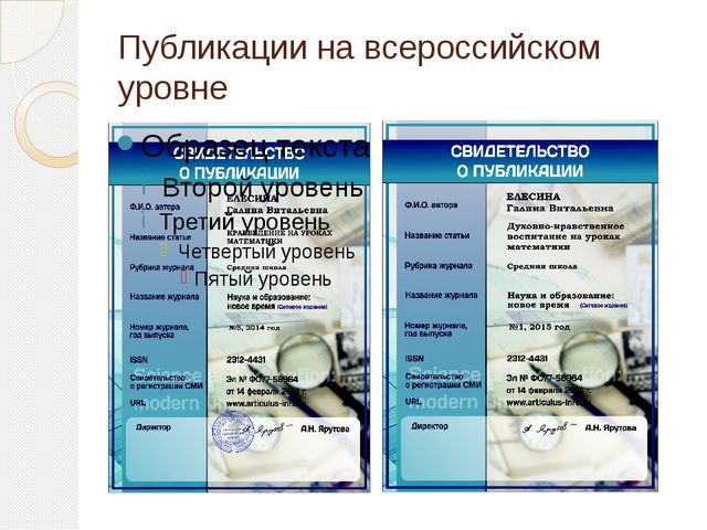 Публикации на всероссийском уровне