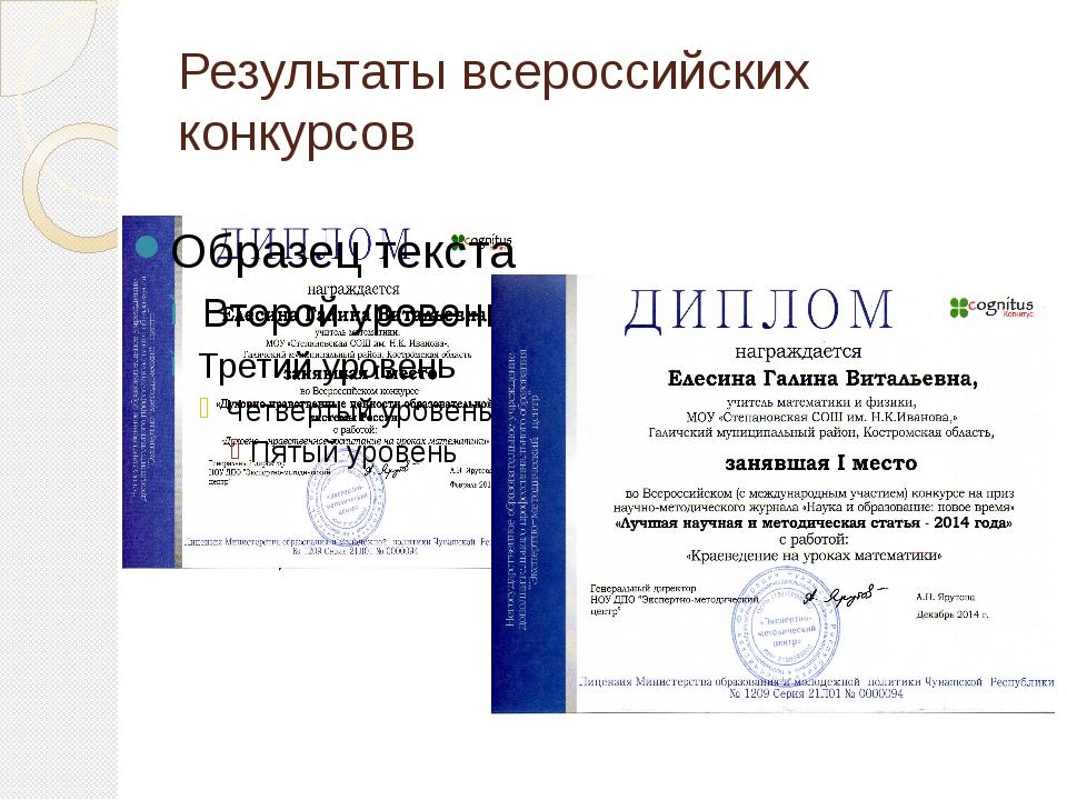 Результаты всероссийских конкурсов