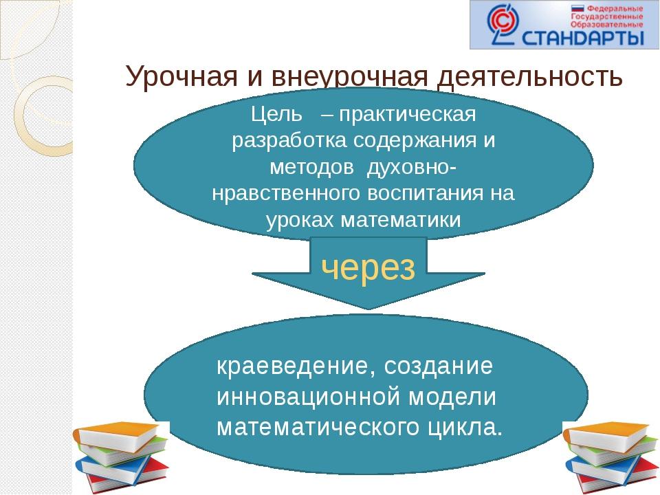 Урочная и внеурочная деятельность Цель – практическая разработка содержания...