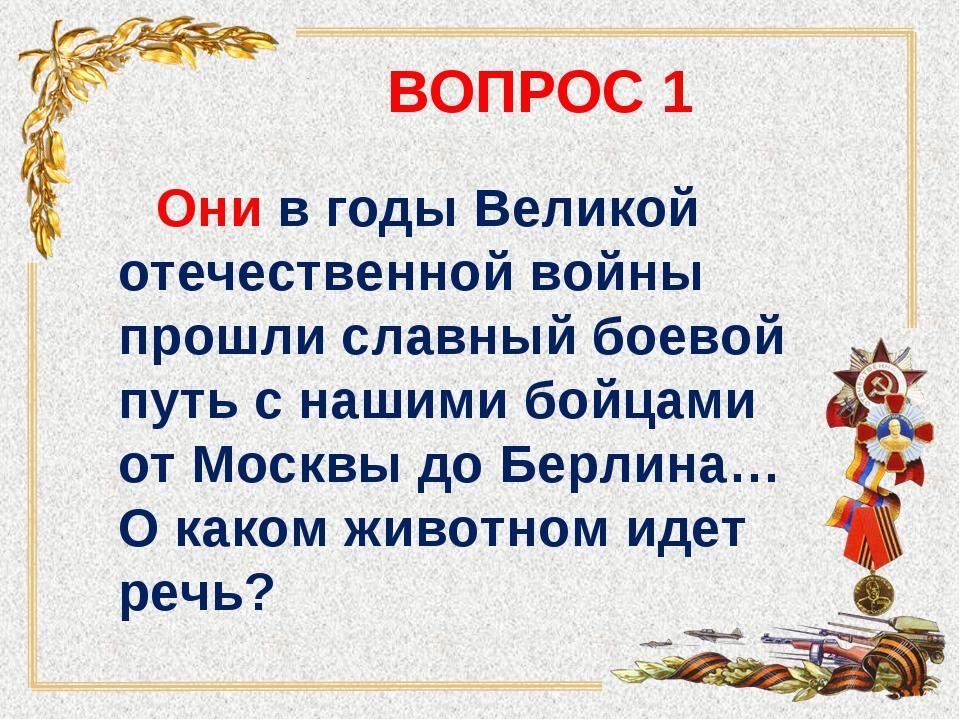 ВОПРОС 1 Они в годы Великой отечественной войны прошли славный боевой путь с...