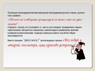 Основным лингводидактическим принципом преподавания русского языка должно ста