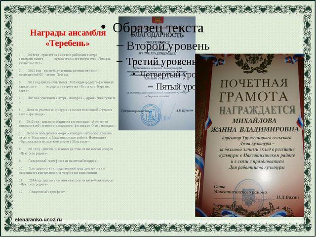 Награды ансамбля «Теребень» 1. 2009год - грамота за 1 место в районном смотре...