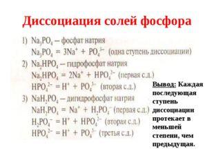Диссоциация солей фосфора Вывод: Каждая последующая ступень диссоциации проте