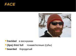 FACE freckledв веснушках (lips) thin/ full тонкие/полные (губы) bearded бор