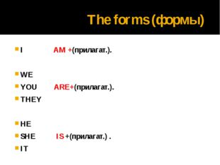 The forms (формы) I AM +(прилагат.). WE YOU ARE+(прилагат.). THEY HE SHE IS +