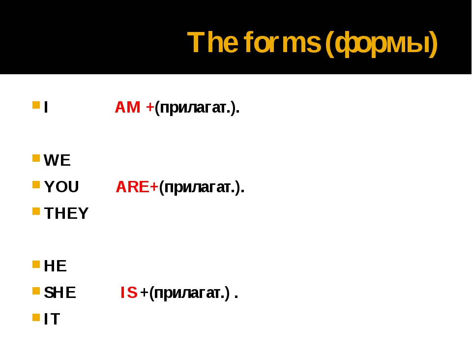 The forms (формы) I AM +(прилагат.). WE YOU ARE+(прилагат.). THEY HE SHE IS +...