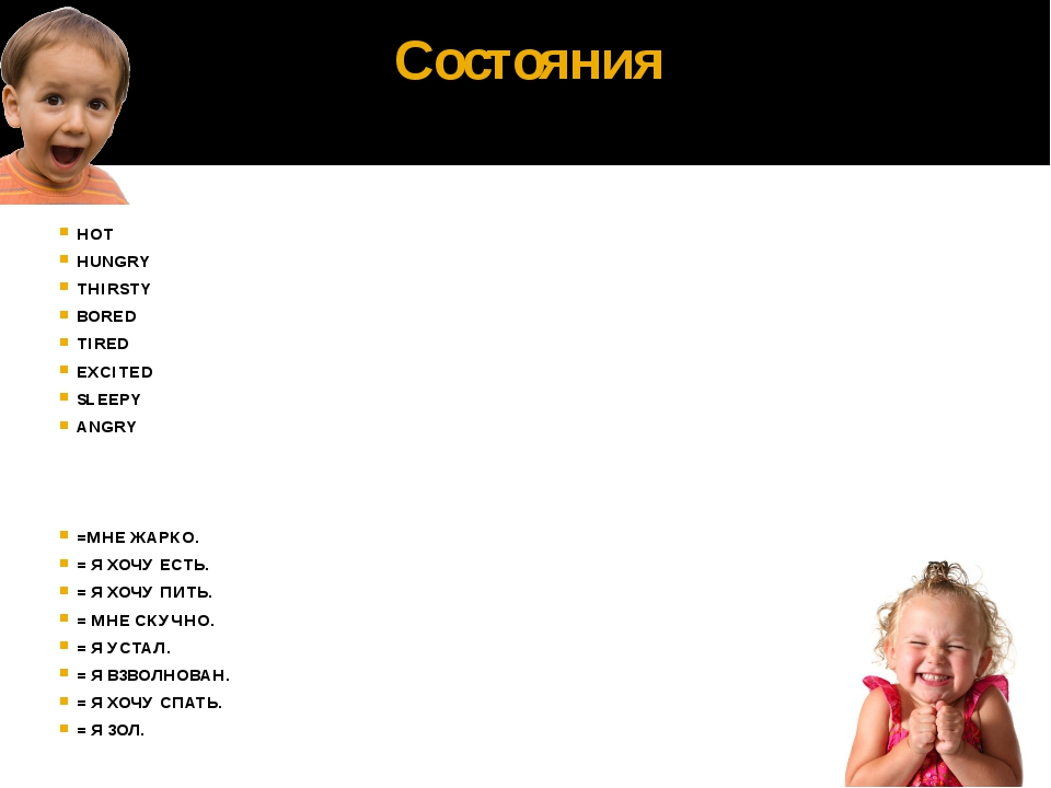 Состояния HOT HUNGRY THIRSTY BORED TIRED EXCITED SLEEPY ANGRY =МНЕ ЖАРКО. = Я...