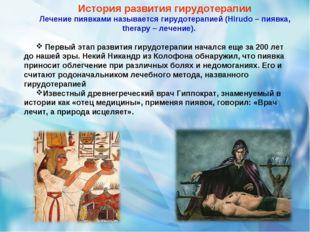 История развития гирудотерапии Лечение пиявками называется гирудотерапией (Hi