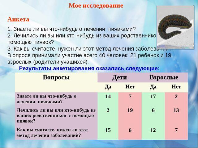 Мое исследование Анкета 1. Знаете ли вы что-нибудь о лечении пиявками? 2. Леч...