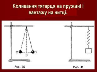 Коливання тягарця на пружині і вантажу на нитці.
